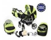 Sportive X2-3 in 1 Reisesystem einschließlich Kinderwagen mit schwenkbaren Rädern, Kinderautositz, Buggy und Zubehör (3 in 1 Reisesystem, Schwarz und Grün)