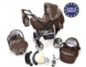 Sportive X2 - 3 in 1 Reisesystem einschließlich Kinderwagen mit schwenkbaren Rädern, Kinderautositz, Buggy und Zubehör, 3 in 1 Reisesystem, Braun, gemustert