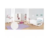 Komplett Jugendzimmer NINA groß, 3-tlg. (Jugendbett, Kommode und großer 2-türiger Kleiderschrank mit Mittelregal), massiv/Weiß lasiert Gr. 90 x 200