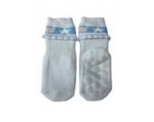 Weri Spezials Vol-Frotee Baby-ABS Soeckchen mit einer 3-D Ruesche in h.Blau, Gr.15-16 (3-6 Monate)