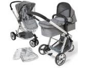 TecTake 3 in 1 Kinderwagen Komplettset grau mit Buggy, Tragetasche, Moskitonetz und Regenschutz