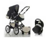 "15 teiliges Qualitäts-Kinderwagenset 3 in 1 ""FLASH"": Kinderwagen + Buggy + Autokindersitz – all inklusive Paket in Farbe PEARL-DAISY"