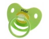 3 Stk. Namensschnuller MAX / Größe 1 (0-6 Monate) / Kieferform / Latex / farblich sortiert (hellblau / grün / blau)
