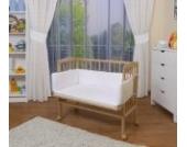 WALDIN Baby Beistellbett mit Matratze und Nestchen, höhen-verstellbar, 16 Modelle wählbar, Buche Massiv-Holz natur unbehandelt,weiß