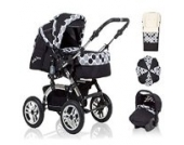 18 teiliges Qualitäts-Kinderwagenset 5 in 1 CITY DRIVER: Kinderwagen + Buggy + Autokindersitz + Schirm + Winter-Fussack - Megaset - all inclusive Paket in Farbe SCHWARZ-PUNKTE