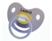 3 Stk. Namensschnuller LEONIE / Größe 1 (0-6 Monate) / Kieferform / Latex / farblich sortiert (Rose / Flieder / Helllila)