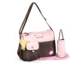 GMMH 3 tlg Baby Farbe Wickeltasche Pflegetasche Windeltasche Babytasche Reise Farbauswahl (rosa braun)