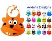 BOMIO Silikon-Lätzchen | mit praktischer Auffangschale | für Babys und Kleinkinder | wasserdicht, leicht abwaschbar, spülmaschinenfest | kindgerechte Tiermotive | geprüft nach EN 71 | Tiger